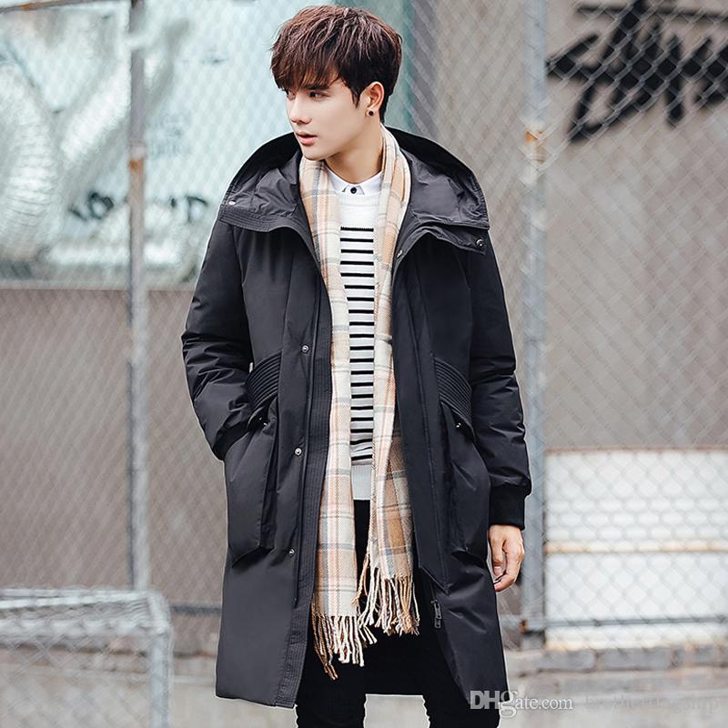 Winter Ветровка Solid с капюшоном серой утки вниз куртка мужчин пальто вскользь Толстое Теплое пером Длинной Шинель Одежда