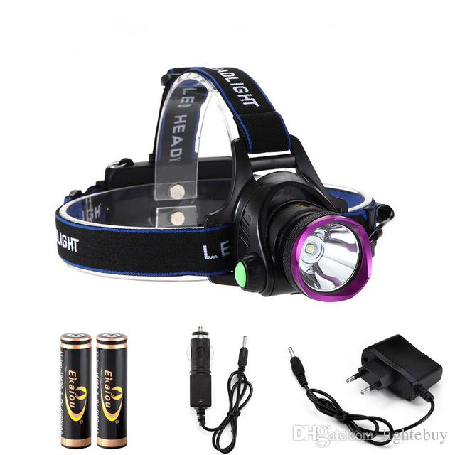 LED Headlamps 1800 Lumens XM-L XML T6 LED Headlight Flashlight Head Lamp Light 18650 + Direct Charger for Hunting Camping