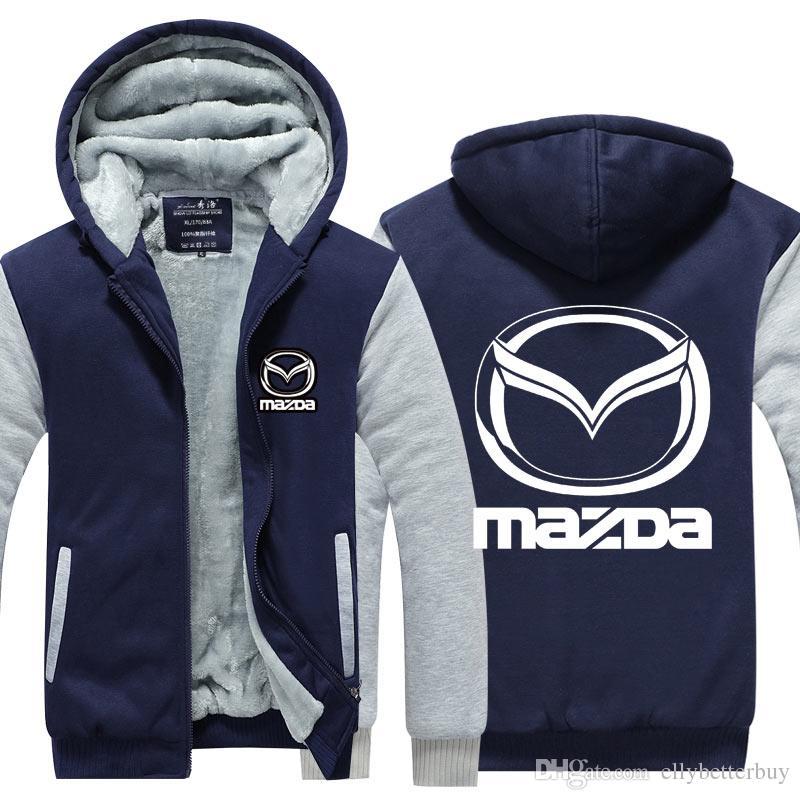 Mazda Araba Kaşmir Hoodie Yeni Kış Kalınlaşmak polar Pamuk Fermuar Rahat Ceket Ceket Süper Sıcak Kazak ABD AB Boyutu Artı Boyutu