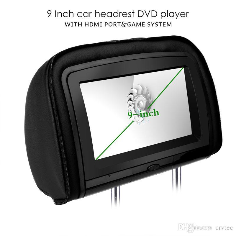 2 * 9 인치 HD 디지털 와이드 스크린 트윈 자동차 Headrest DVD 플레이어 1080P 비디오 자동차 DVD Hdmi 입력 IR FM 무선 헤드폰 블랙 탄 회색