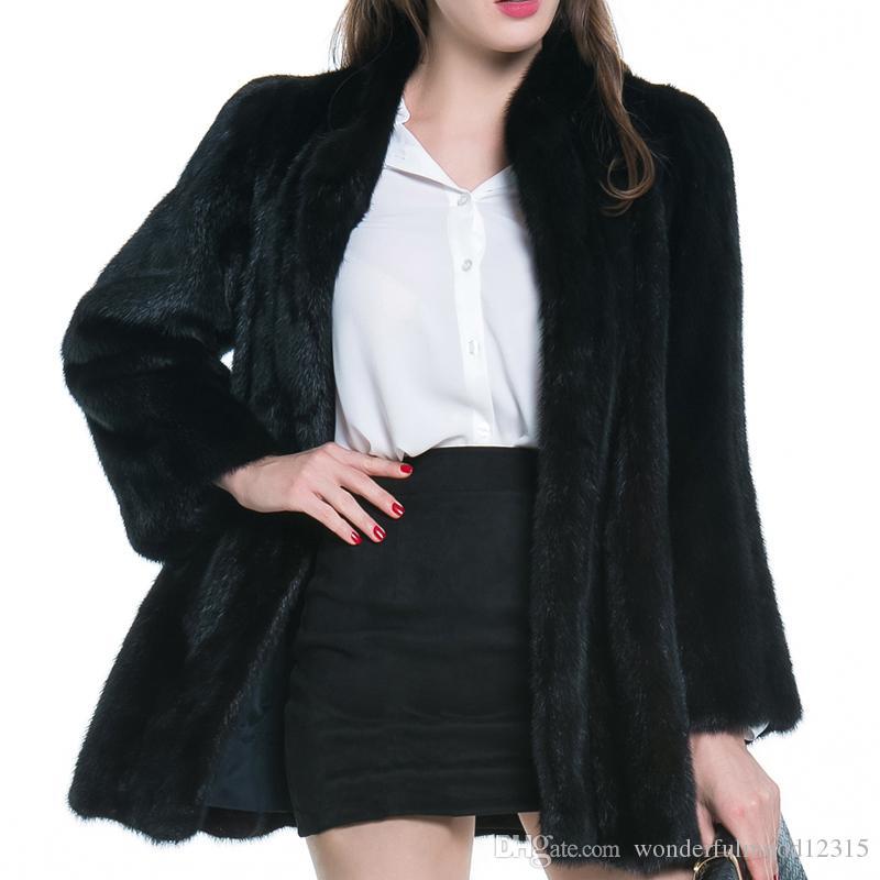 Женская зимняя теплая искусственная шуба с воротником-стойкой сгущает теплые мягкие пушистые меховые куртки волосатая верхняя одежда пальто