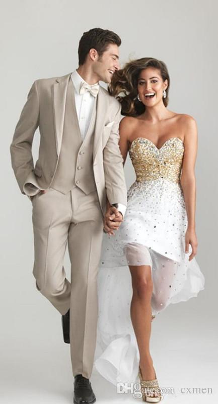 Выполненные на заказ бежевые мужские костюмы свадьба 2018 Slim Fit Groom Смокинги Красивый Groomsmen Лучший мужской костюм пиджак 3 шт. Куртка + брюки + жилет