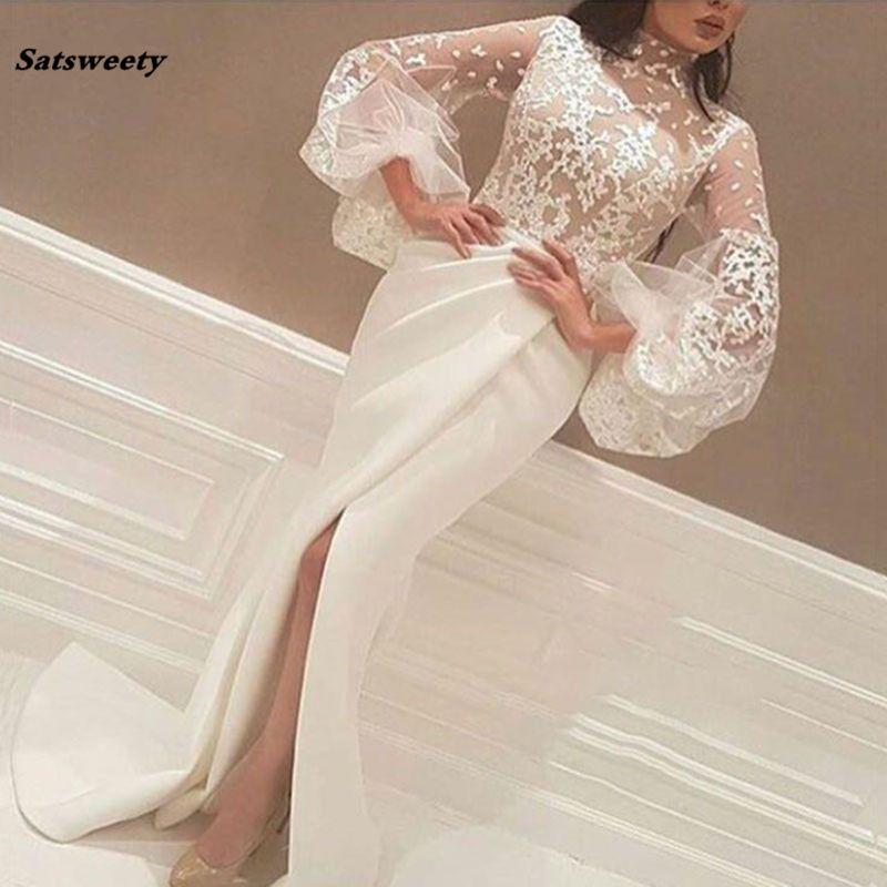 Robe de soirée musulmane blanche Mermaid col haut manches longues en dentelle fente islamique Dubaï Saoudien arabe longue robe de soirée