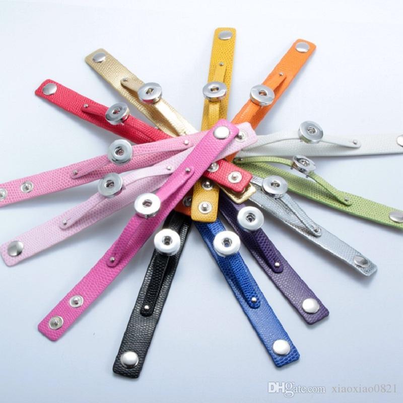 أزياء 12 desigen جلدية متعددة الألوان الطقات أساور صالح 18mm يستقر أزرار سحر للنساء أفضل هدية