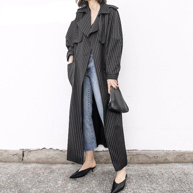 Ceintures Coupe-Vent Dames Rayé Col Revers Taille Haute Patchwork Vintage Trench-Coat Pour Femmes Sring OL Nouveau