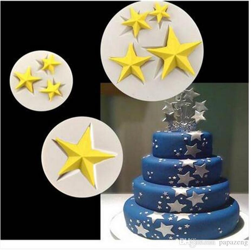 Ventas calientes DIY Cake Border Stars Fondant Molde de Silicona Herramienta de decoración de Pasteles Moldes de Artesanía de Azúcar Para Hornear Pasteles Herramientas Para Hornear