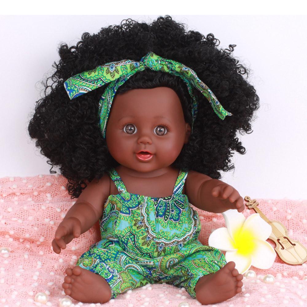 트렌디 한 흑인 소녀 인형 아프리카 계 미국인 재생 인형 살아있는 12 인치 아기 크리스마스 선물은 좋은 키즈 새로운 장난감을 재생