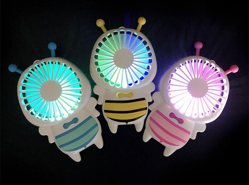 Hot Handy USB carga Fan Mini Abelha Handle Charging Ventiladores Elétricos Fino Handheld Portátil Luminosa Luz Da Noite 3 Cores