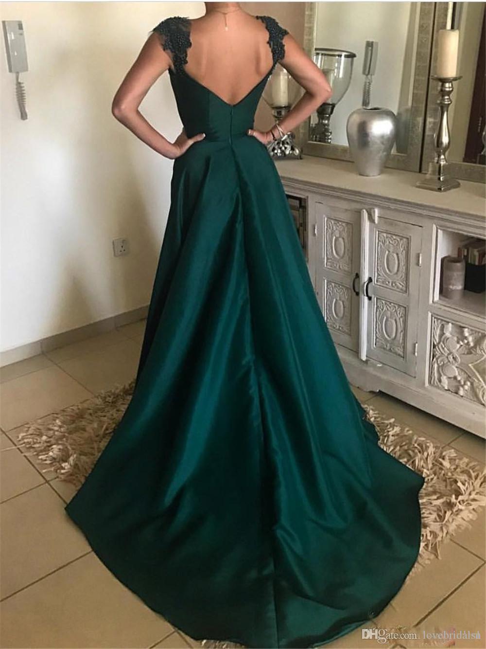 Großhandel Elegantes Dunkelgrünes Abendkleid Mit Perlen Appliziert Satin  Eine Linie Bodenlang Lange Abendkleider Günstige Frauen Party Kleider Von