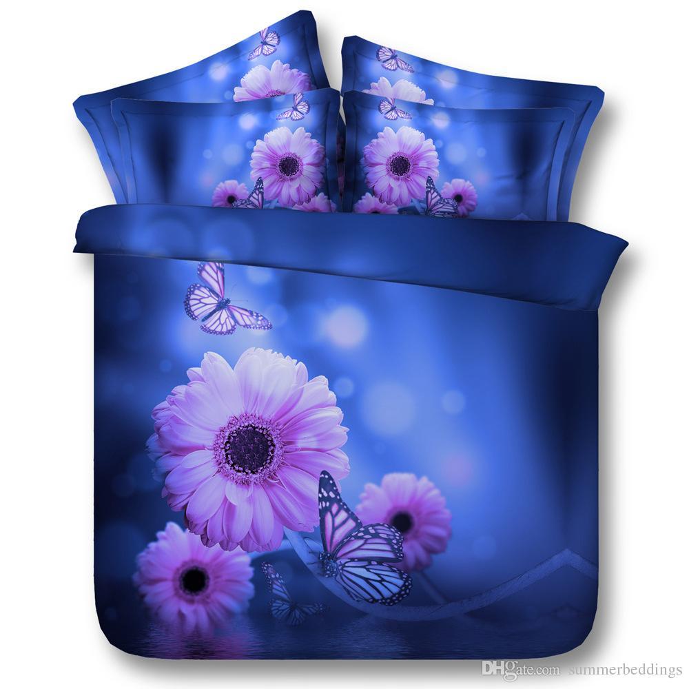 3D mor çiçek yatak takımları kelebek yorgan yatak örtüleri Nevresim Yorgan yatak örtüsü tek kişilik tam kraliçe kral cal kral Kapaklar kapak kapakları