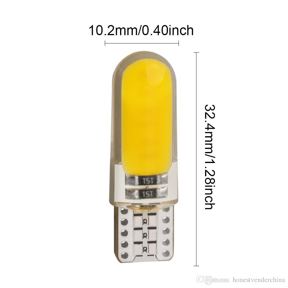 10 조각 T10 W5W LED 자동차 인테리어 조명 COB 마커 램프 12V 168 194 501 사이드 웨지 주차 Canbus 자동 Lada 자동차 스타일링
