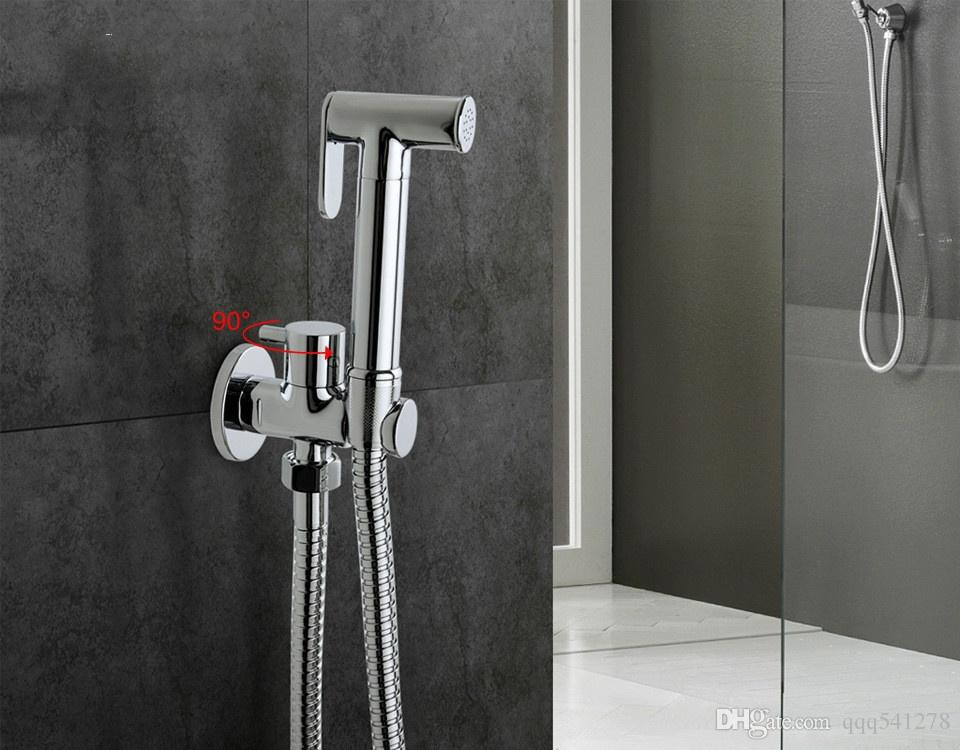 Brass Toilet Hand Held Bidet Spray Shower Head Douche Kit Shatta Copper Valve Bathroom Bidet Sprayer Jet Tap Holder Hose