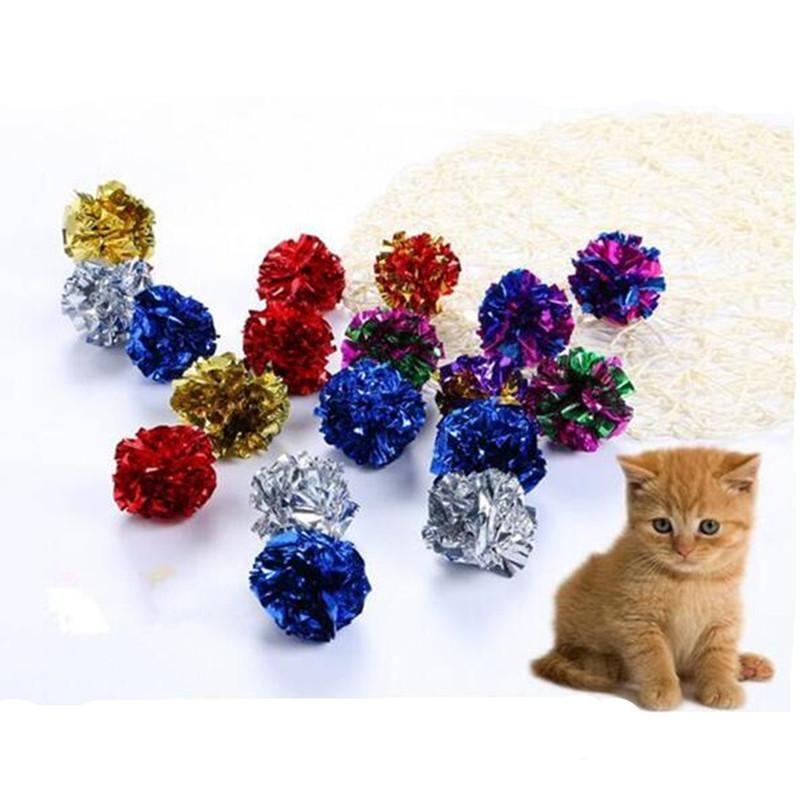 12 piezas Multicolor Mylar Crinkle Ball Pet Cat Toys Anillo de papel Juguete para perros Anillo de sonido interactivo Gatito de papel Bolas para perros