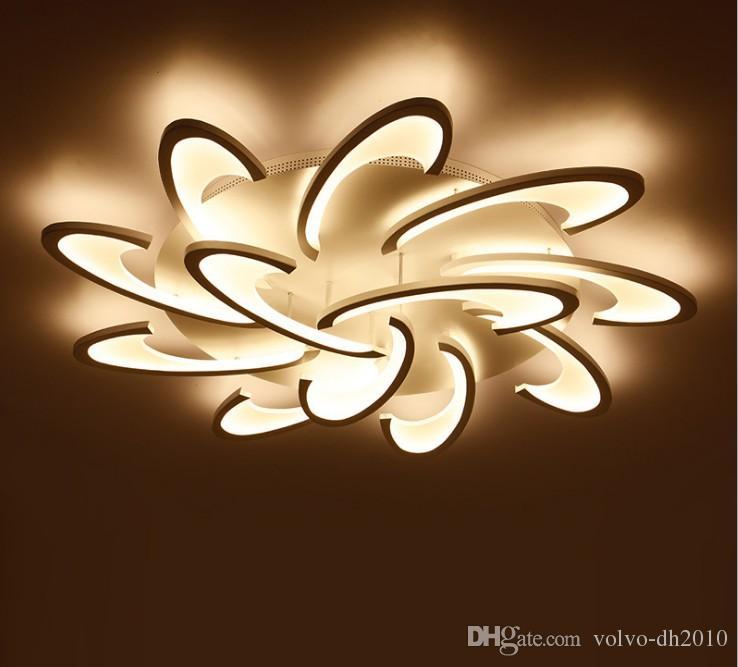 Lámparas de techo modernas para montaje en superficie LED para sala de estar Dormitorio Blanco / Negro Candelabros Acrylice Pantalla Lámpara Iluminación LLFA