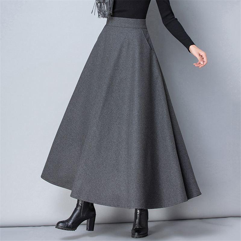 겨울 여자 긴 모직 치마 유행 높은 허리 기본적인 모직 치마 여성 우연한 두꺼운 온난한 탄력 있는 A 선 맥시 치마 O839