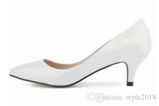 NEW Womens Sexy Low Mid Kitten Heels Shoes Pu Patent Leather Pointed Pumps Size;35-42 @678-1