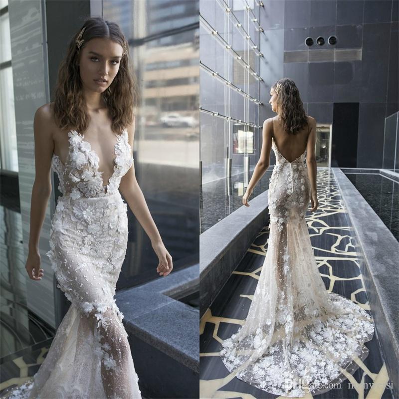 Julie Vino 2019 Robes de mariée Sirène 3D Floral Applique Dentelle Dosseuse Sexy Spaghetti Robes de mariée sur mesure