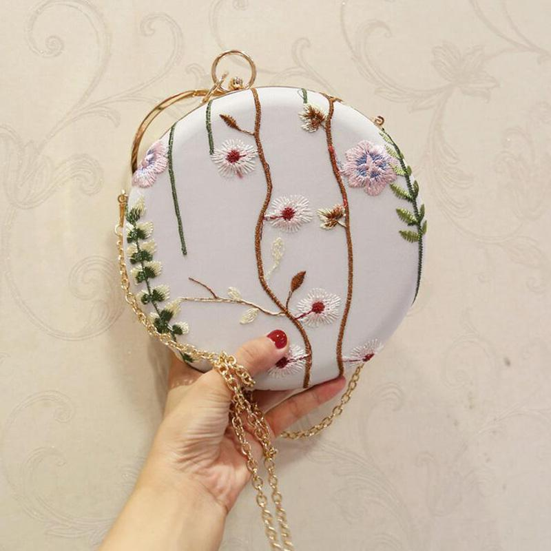 Borsa da donna rotonda con fiori ricamati e diamanti con borse a tracolla a catena per borsa da donna con frizioni