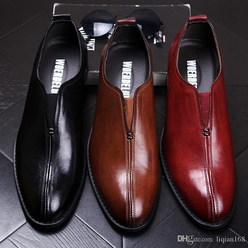 Men's pointed genuine leather shoes fashion Korean version of British style casual shoes with high set of lazy wedding shoes