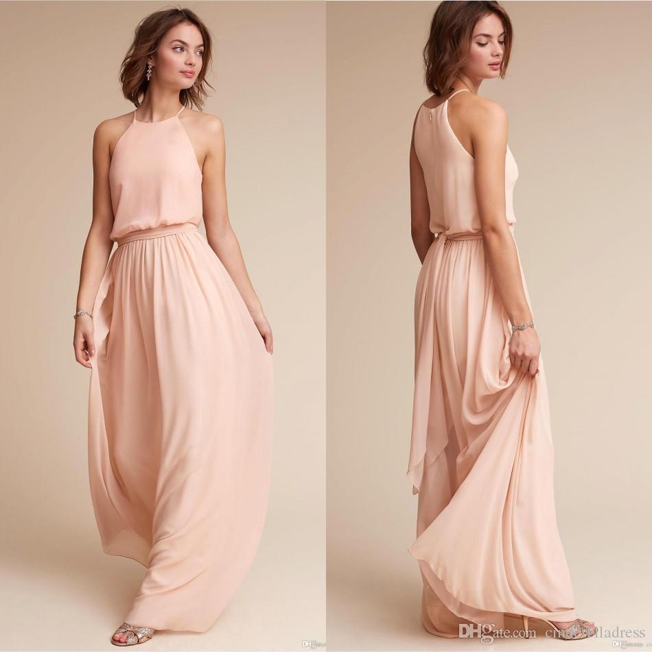 Großhandel Erröten Rosa Chiffon Kleider 12 Halter Lange Maid Of Honor  Kleider Günstige Hochzeitsgast Partei Kleid Land BM12 Von  Cinderelladress,