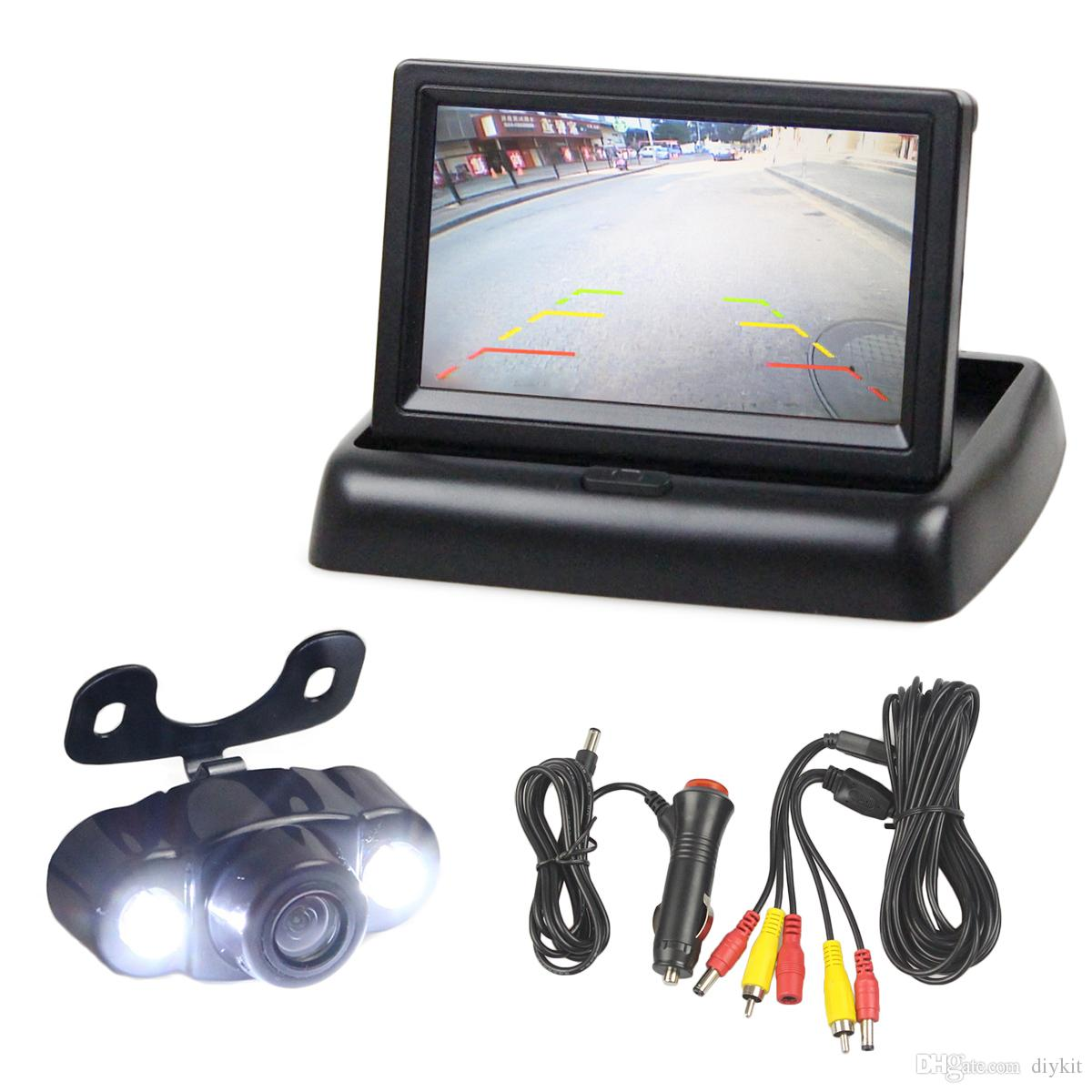Diykit 4,3 polegada carro invertendo kit de câmera de volta para cima monitor de carro display LCD HD LED Night Vision View View Camera