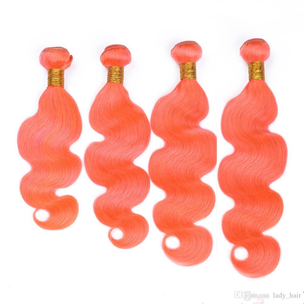 버진 브라질어 오렌지 인간의 머리카락 확장 바디 버드 순수 오렌지 버진 헤어 위브 번들 4pcs 많은 인간의 머리카락 위빙 더블 Wefts