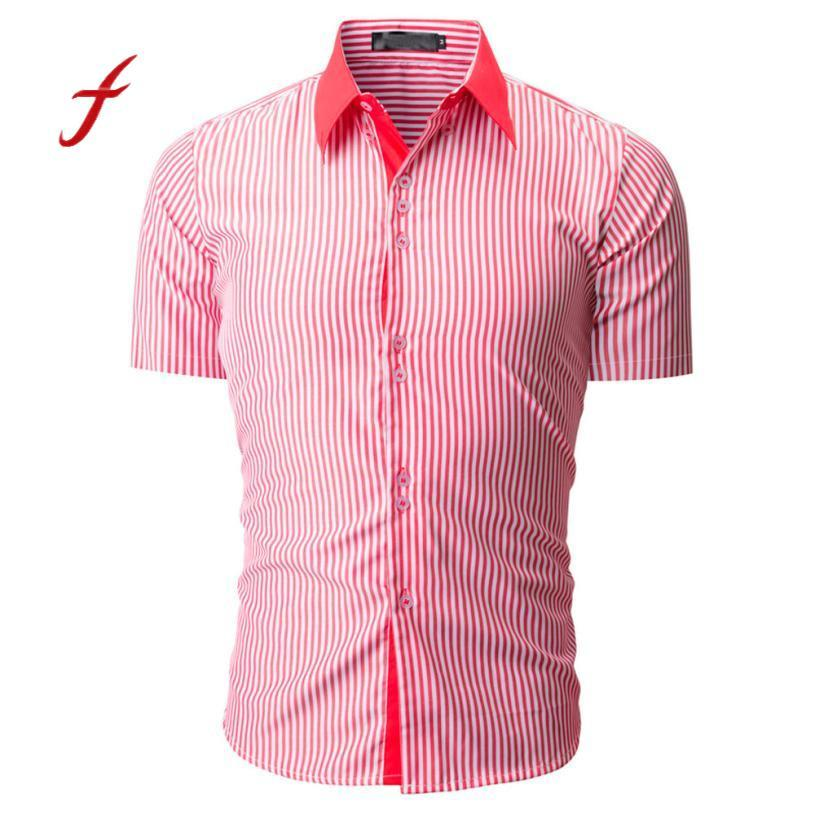 Feitong New Arrival Men Shirt Fashion Striped Color Male Casual Short Sleeve Shirt Shop Owner Recommended men camisa