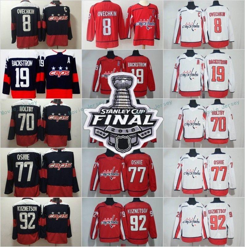 2018 سلسلة نهائيات كأس ستانلي Hockey Washington Capitals 8 Alex Ovechkin 19 Nicklas Backstrom Jerseys TJ Oshie 92 Evgeny Kuznetsov