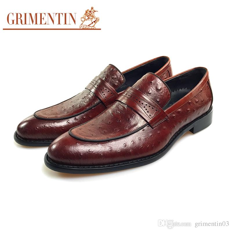 GRIMENTIN Hot Sale Brand Slip On Brown Men Loafers Genuine Leather Italian Fashion Business Mens Dress Shoes For Male Wedding Shoes