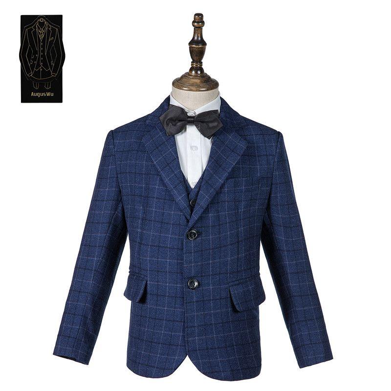 High quality exquisite wool blend boy suit three-piece suit (jacket + pants + vest) boy graduation ceremony formal dress support custom