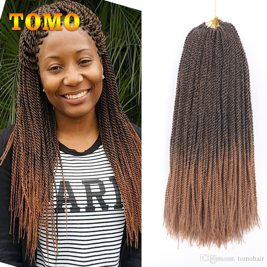 TOMO Ombre Senegalese Twist Hair Crochet braids 30 Roots/pack Synthetic Braiding Hair Extensions for Black/White Women grey,bonde,pink,brown