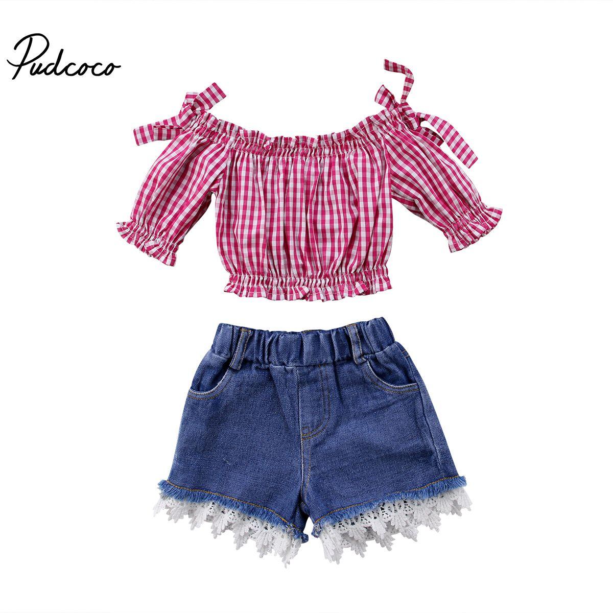 Newborn Baby Girls Off Shoulder Shirt Crop Top Shorts Pants Outfits Clothes Set