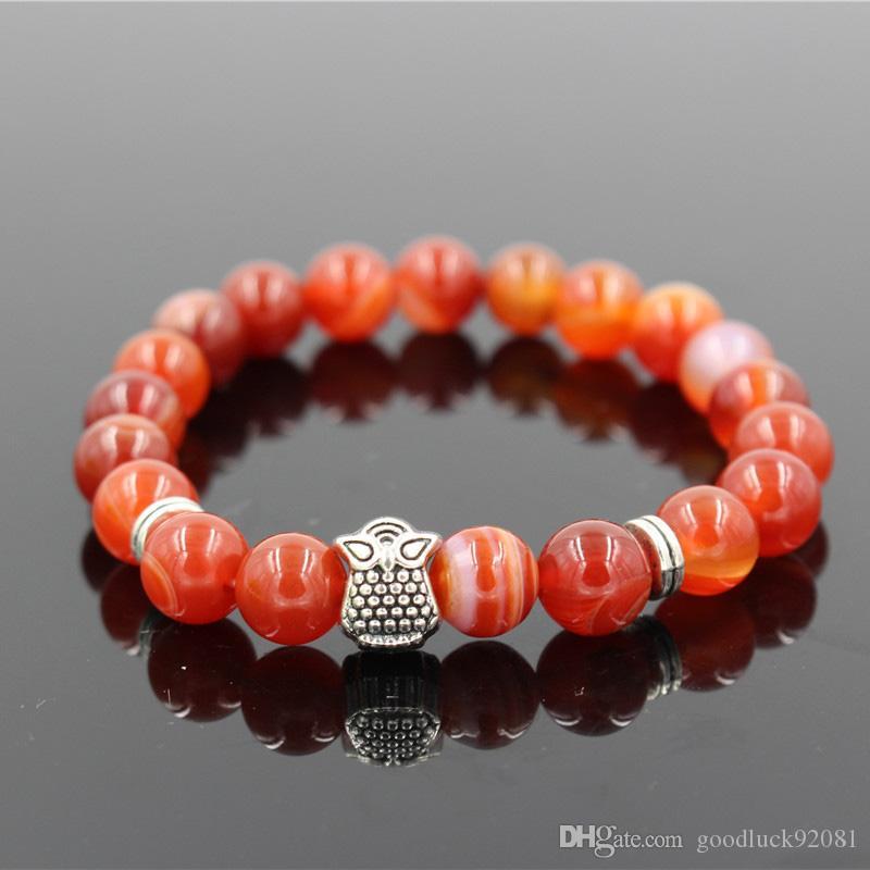 natürliche rote Sardonyx Stein Perlen Armband Antik Silber Farbe Eule Bettelarmband für Männer Frauen Schmuck