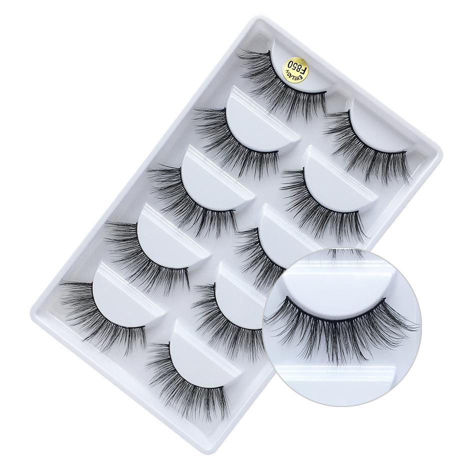 Brand New 5 pairs pack mink 3D hair false eyelashes hand-made reusable natural long thick mink fur hair lashes black cotton stalk DHL Free