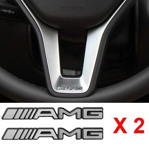 2pcs Alloy AMG Steering Wheel Sticker Type Badge Styling Emblems Aluminium S66