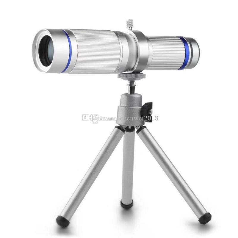 Evrensel Klipler 20X Telefoto Lens cep telefonu 20x Zoom Optik Teleskop Telefoto Harici Smartphone Kamera Lens ile Mini Tripod