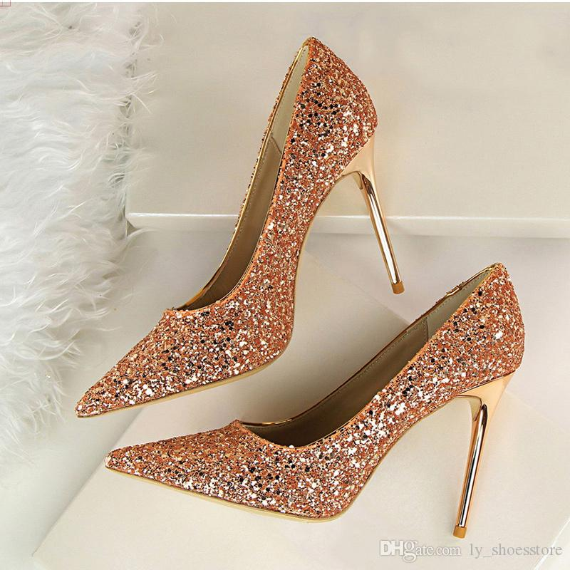 d8be4cc84ed Women Pumps Sexy Wedding Shoes Women Heels Valentine Bling High Heels Shoes  Female Gold Silver Red Stiletto Bridal Shoes 9219-1