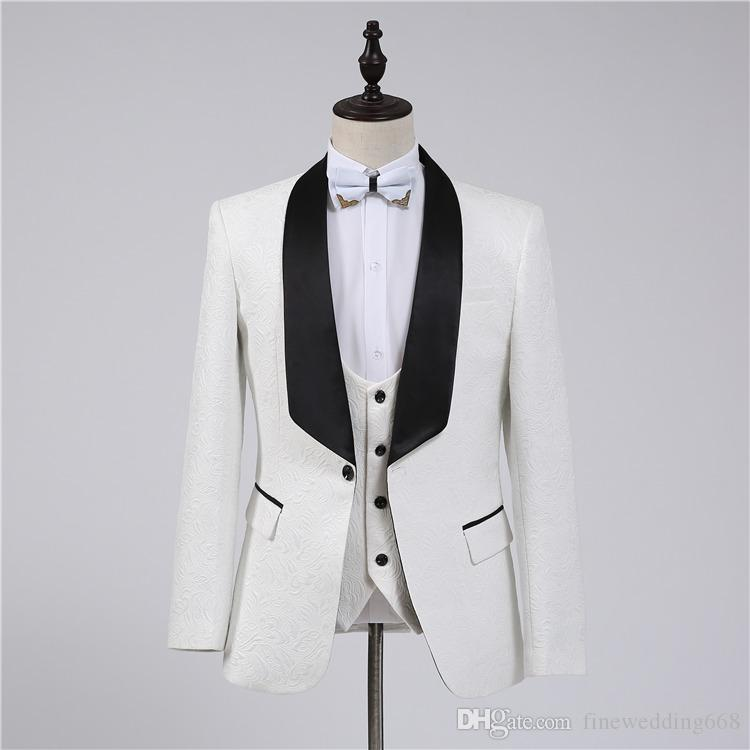 Guapo de marfil padrinos chal solapa estampado un botón novio esmoquin trajes de hombre boda / baile / cena mejor hombre Blazer (chaqueta + pantalones + Tie + chaleco)