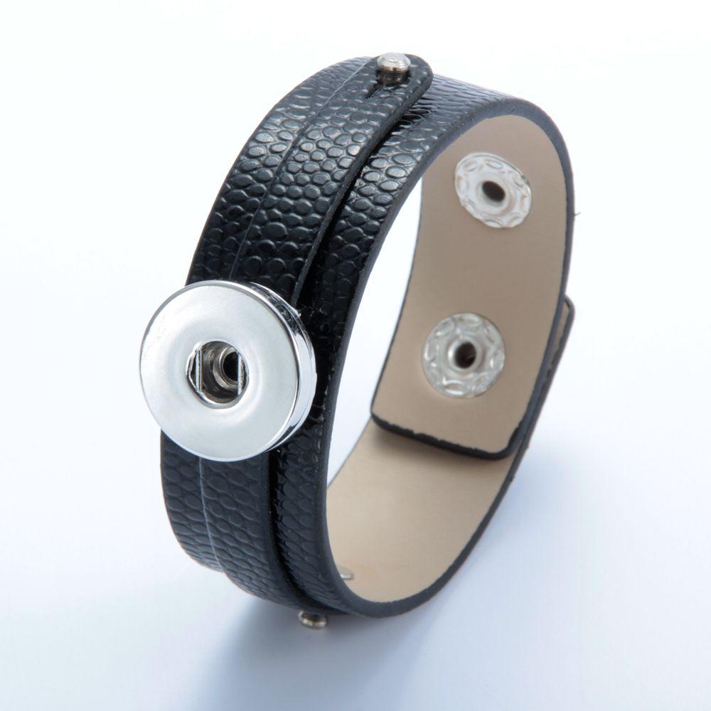 Sıcak Satış 1 adet / grup DIY Siyah PU Deri BraceletBangle Yapış Takı Fit 18mm Snap Düğmesi SZ0370k-a