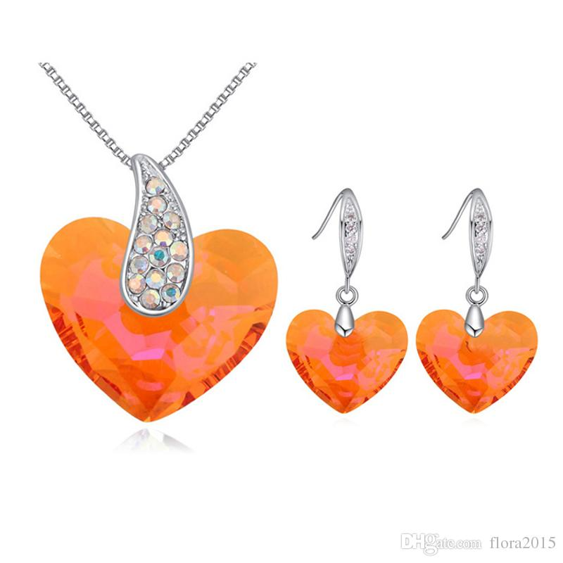 Bride Wedding Jewelry Set Necklace And Heart Shape Dangle Earings Made with Genuine Swarovski Elements Crystal For Women