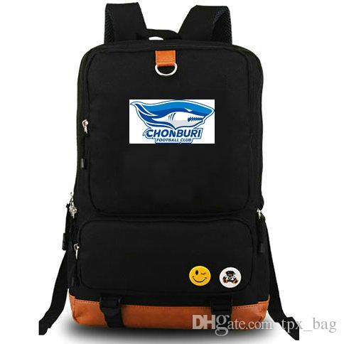 Chonburi Rucksack Shark Cool Daypack FC Football Club Schoolbag Soccer Packsack فريق حقيبة كمبيوتر محمول حقيبة مدرسية في الهواء الطلق