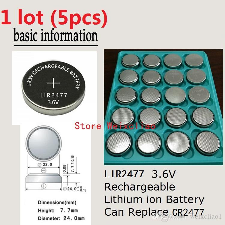 5pcs 1 lot LIR2477 3.6V Lithium li ion rechargeable button cell battery 2477 3.6 Volt li-ion coin batteries replace CR2477 Free Shipping