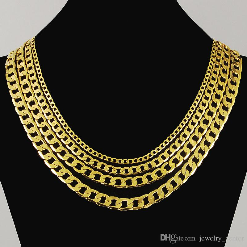 Never rust Luxury Figaro Chain Necklace 4 Size Men Jewelry 18K Real Yellow Gold Plated 9mm Hip hop Chain Necklaces for Women Men