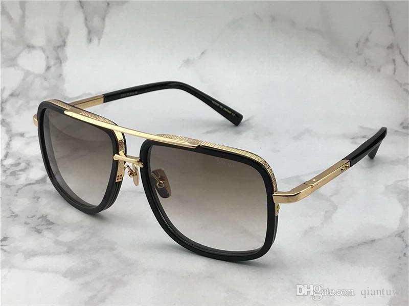 Cuadrados piloto gafas de sol de oro / marrón de la pendiente de titanio para hombre de las gafas de sol Sun Drive vidrio Nueva Gafas de verano con la caja