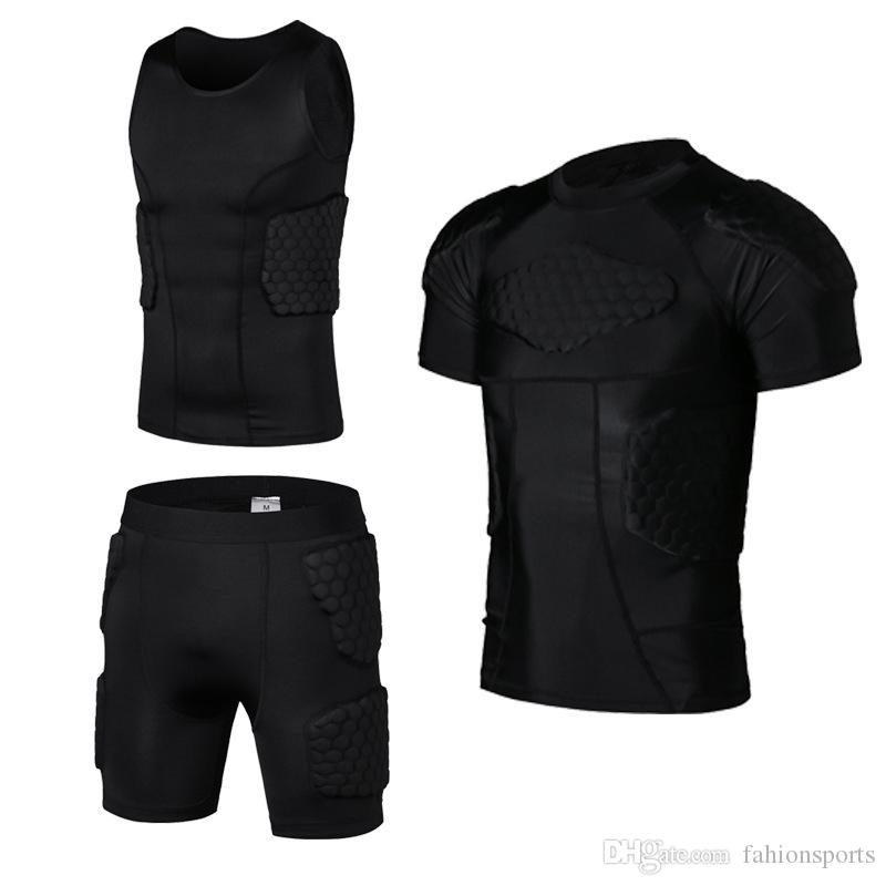 A nido d'ape Pad Calcio Rugby Basket Jersey Maglia Armor Shorts T-shirt Anti Crash Sportwear Sport Abbigliamento da uomo di sicurezza