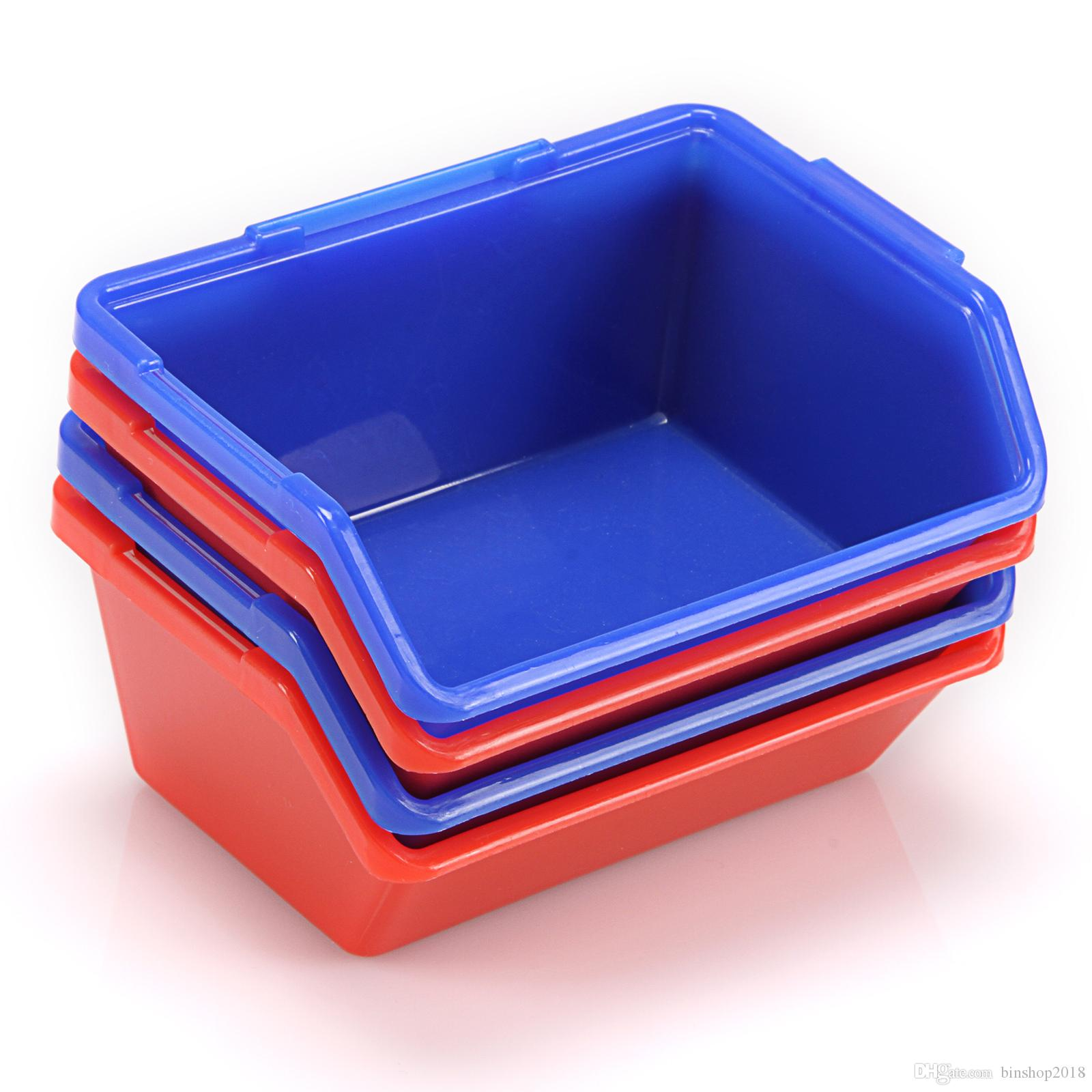 Wholesale Brand New Lot of 20pcs Red or Blue Open Fronted Storage Bins Plastic Parts Picking Workshop Box Small