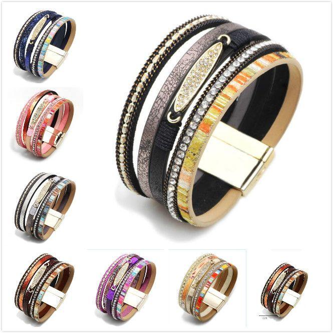 Fashionable Multi Layer Multicolor Bohemia Style Alloy Button Lady Bracelet 7 Styles Free Shipping Women Teen Girl Boy Gift
