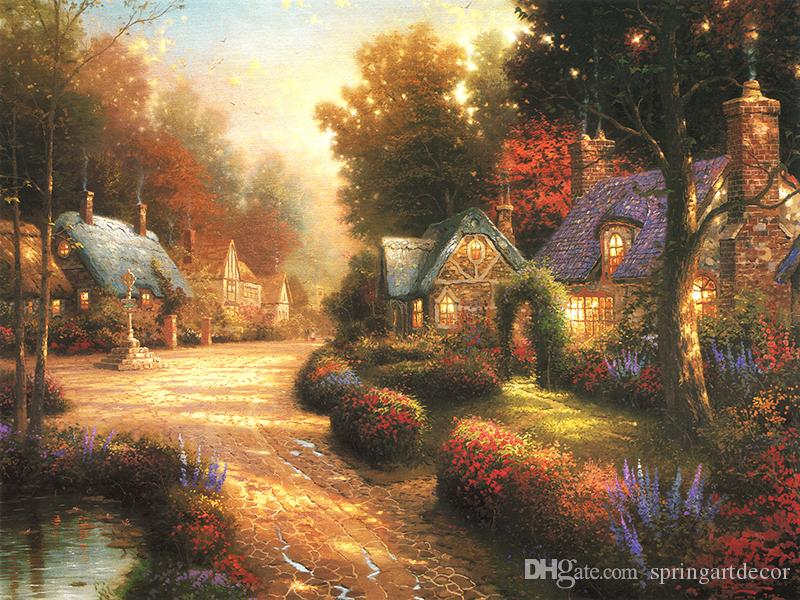 Unframed or Framed Thomas Kinkade Landscape Oil Painting Reproduction High Quality Picture Printed On Canvas Modern Home Art Decor HT218