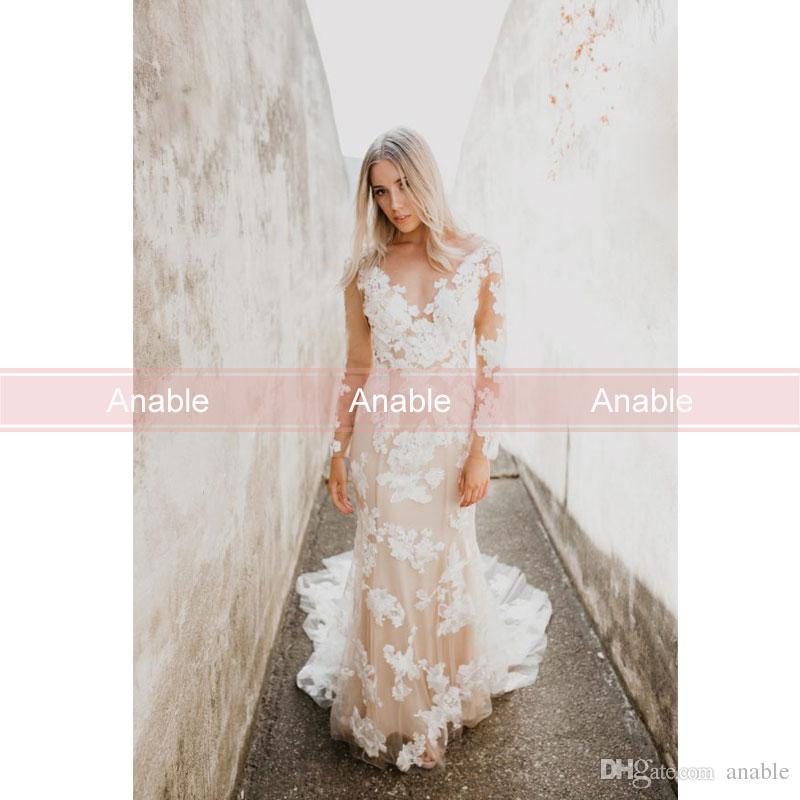 Großhandel 2018 Elegante Sheer Long Sleeve Strand Brautkleider Sex V ...