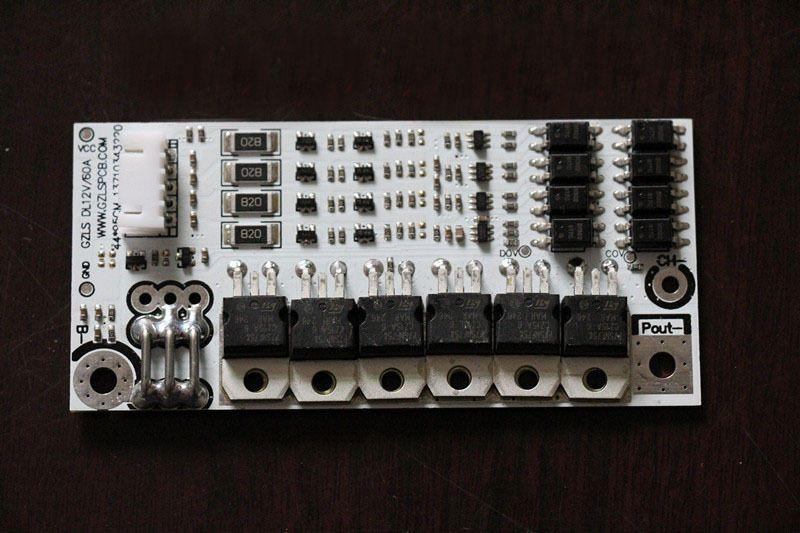 Freeshipping 4s 12v 60a Placa de protección de batería BMS PCB con equilibrio para LiFePo4 li Batería de fosfato de hierro y litio de la célula